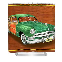 1950 Ford Country Squire Woody Shower Curtain by Jack Pumphrey