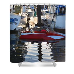 Shower Curtain featuring the photograph 1950's Custom Hydroplane by Kym Backland