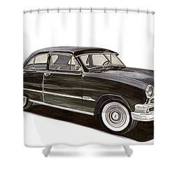 1951 Ford 2 Dr Sedan Shower Curtain by Jack Pumphrey