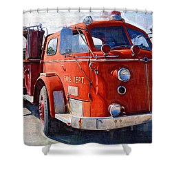 1954 American Lafrance Classic Fire Engine Truck Shower Curtain by Kathy Clark