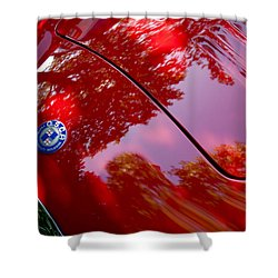 Shower Curtain featuring the photograph 1954 O.s.c.a. Mt4 Maserati Hood Emblem by Jill Reger