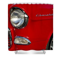 1955 Chevrolet 210 Headlight Shower Curtain by Jill Reger