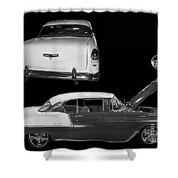 1955 Chevy Bel Air 2 Door Hard Top Shower Curtain by Tim Mulina