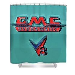 1955 Gmc Suburban Carrier Pickup Truck Emblem Shower Curtain by Jill Reger