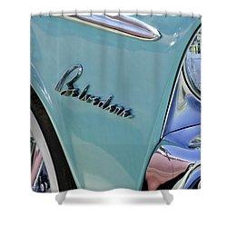 1955 Plymouth Belvedere Emblem Shower Curtain by Jill Reger