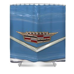 1956 Cadillac Emblem Shower Curtain by Linda Phelps