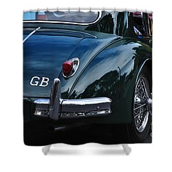 1956 Jaguar Xk 140 - Rear And Emblem Shower Curtain by Kaye Menner