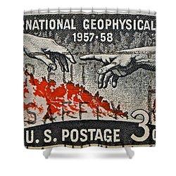 1957-1958 International Geophysical Year Stamp Shower Curtain