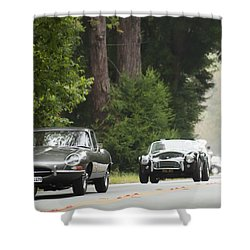 1961 Jaguar E-type 3.8 Litre Fixed Head Coupe Shower Curtain by Jill Reger
