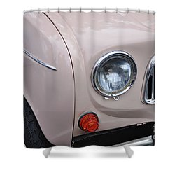 1963 Renault R4 - Headlight And Grill Shower Curtain by Kaye Menner