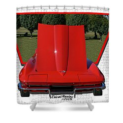 Shower Curtain featuring the photograph 1965 Corvette by EricaMaxine  Price