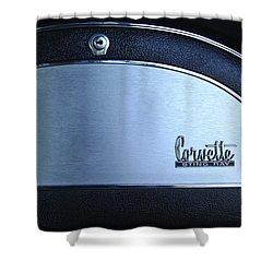 1967 Chevrolet Corvette Glove Box Emblem Shower Curtain by Jill Reger