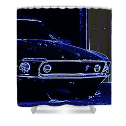 1969 Mustang In Neon Shower Curtain by Susan Bordelon