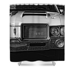 1972 Olds 442 Black And White  Shower Curtain by Gordon Dean II