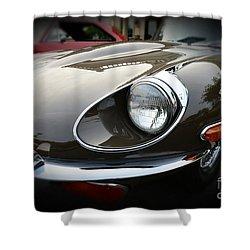 1973 Jaguar Type E Front Shower Curtain by Paul Ward