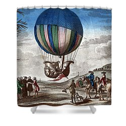 1st Manned Hydrogen Balloon Flight, 1783 Shower Curtain by Photo Researchers