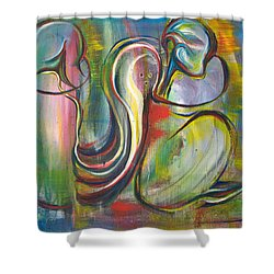 2 Snails And 3 Elephants Shower Curtain