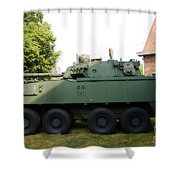 A Belgian Army Piranha IIic Shower Curtain by Luc De Jaeger