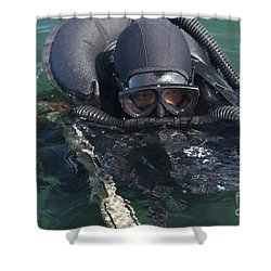 A Navy Seal Combat Swimmer Shower Curtain by Michael Wood