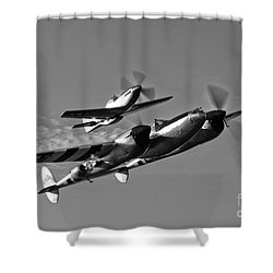 A P-38 Lightning And P-51d Mustang Shower Curtain by Scott Germain