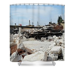 A Russian T-72 Main Battle Tank Shower Curtain by Andrew Chittock
