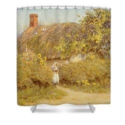 A Surrey Cottage Shower Curtain by Helen Allingham