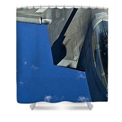 An F-22 Raptor In Flight Shower Curtain by Stocktrek Images