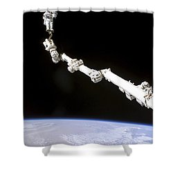 Astronaut Anchored To A Foot Restraint Shower Curtain by Stocktrek Images