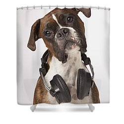 Boxer Dog With Headphones Shower Curtain by LJM Photo