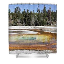 Chromatic Pool Hot Spring, Upper Geyser Shower Curtain by Richard Roscoe