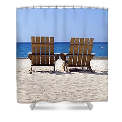 Shower Curtain featuring the photograph Cozumel Mexico Beach Chairs And Blue Skies by Shawn O'Brien