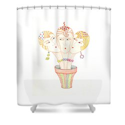 Flower Pot Ladies Shower Curtain