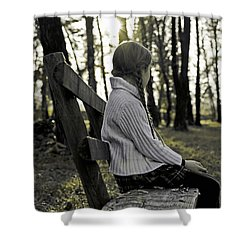 Girl Sitting On A Wooden Bench In The Forest Against The Light Shower Curtain by Joana Kruse