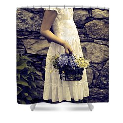 Girl With Flowers Shower Curtain by Joana Kruse