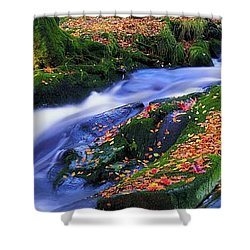 Glenmacnass Waterfall, Co Wicklow Shower Curtain by The Irish Image Collection