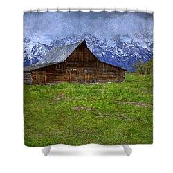 Grand Teton Iconic Mormon Barn Spring Storm Clouds Shower Curtain by John Stephens