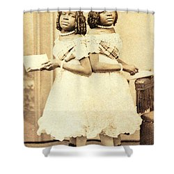 2 Headed Girl Millie-chrissie Shower Curtain by Photo Researchers