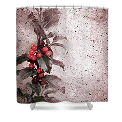 Holly Branch  Shower Curtain by Carlos Caetano