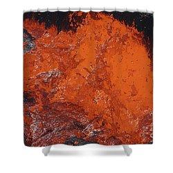 Lava Bursting At Edge Of Active Lava Shower Curtain by Richard Roscoe