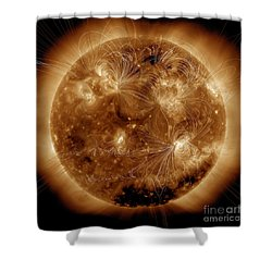 Magnetic Field Lines On The Sun Shower Curtain by Stocktrek Images