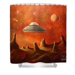 Mysterious Planet Shower Curtain by Randy Burns