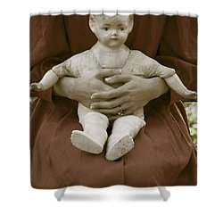Old Doll Shower Curtain by Joana Kruse