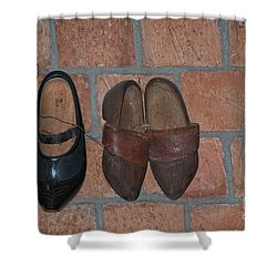 Shower Curtain featuring the digital art Old Wooden Shoes by Carol Ailles
