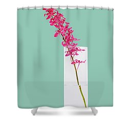 Red Orchid Bunch Shower Curtain by Atiketta Sangasaeng