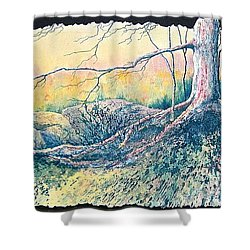 Shower Curtain featuring the painting Rooted In Time by Carolyn Rosenberger