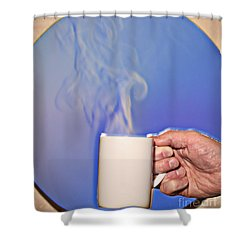 Schlieren Image Of Hot Coffee Cup Shower Curtain by Ted Kinsman