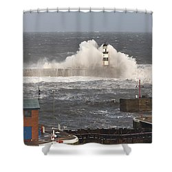 Seaham, Teesside, England Waves Shower Curtain by John Short