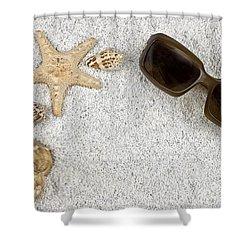 Seastar And Shells Shower Curtain by Joana Kruse