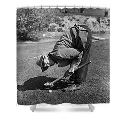 Silent Film Still: Golf Shower Curtain by Granger