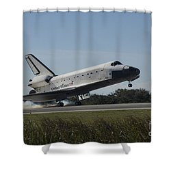Space Shuttle Atlantis Touches Shower Curtain by Stocktrek Images